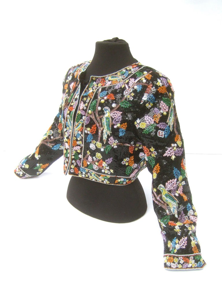 Artisan Glass Beaded Birds of Paradise Floral Sequined Bolero Jacket c 1980s  For Sale 9