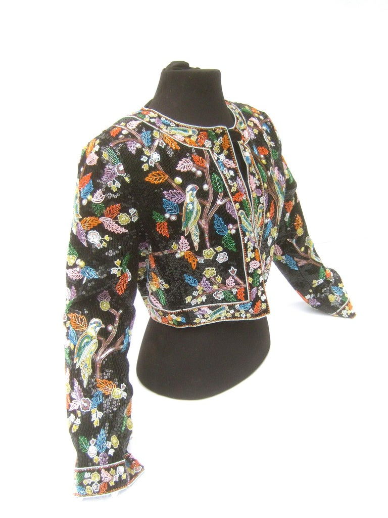 Artisan Glass Beaded Birds of Paradise Floral Sequined Bolero Jacket c 1980s  For Sale 10