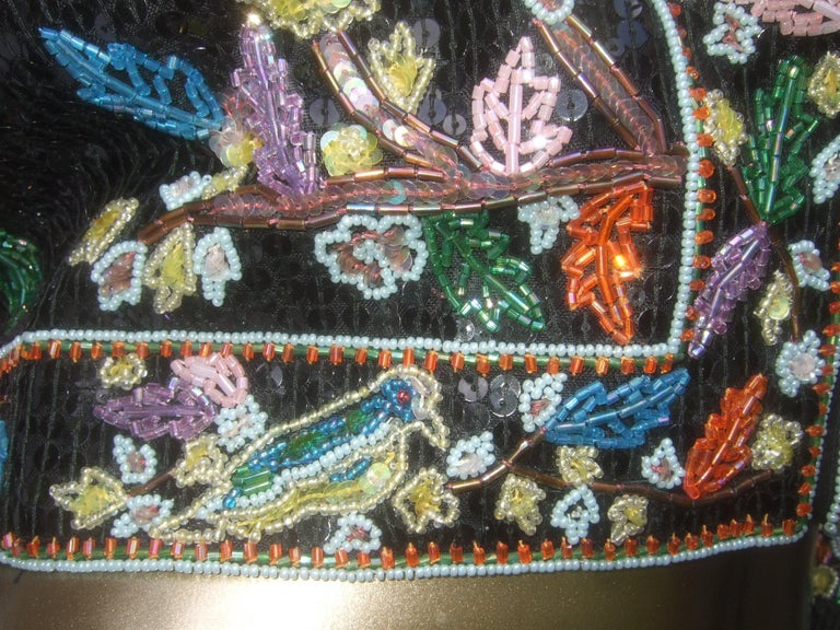 Artisan Glass Beaded Birds of Paradise Floral Sequined Bolero Jacket c 1980s  For Sale 11