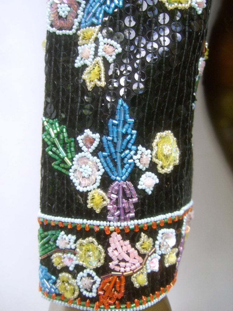 Artisan Glass Beaded Birds of Paradise Floral Sequined Bolero Jacket c 1980s  For Sale 12