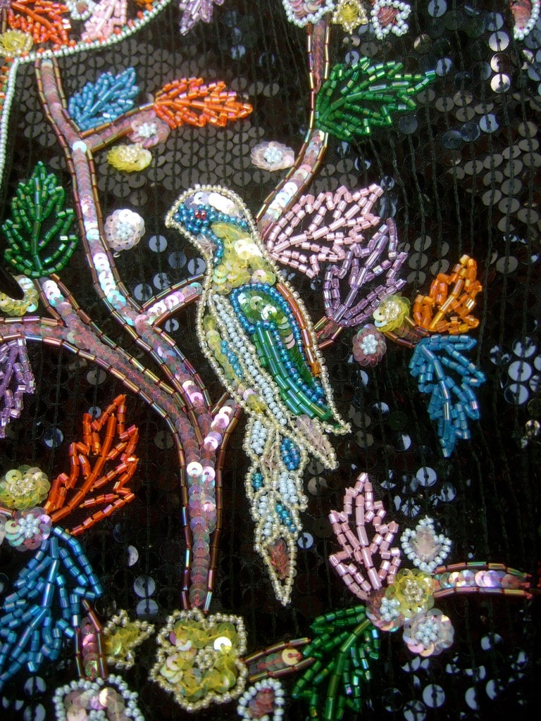 Artisan Glass Beaded Birds of Paradise Floral Sequined Bolero Jacket c 1980s  For Sale 13