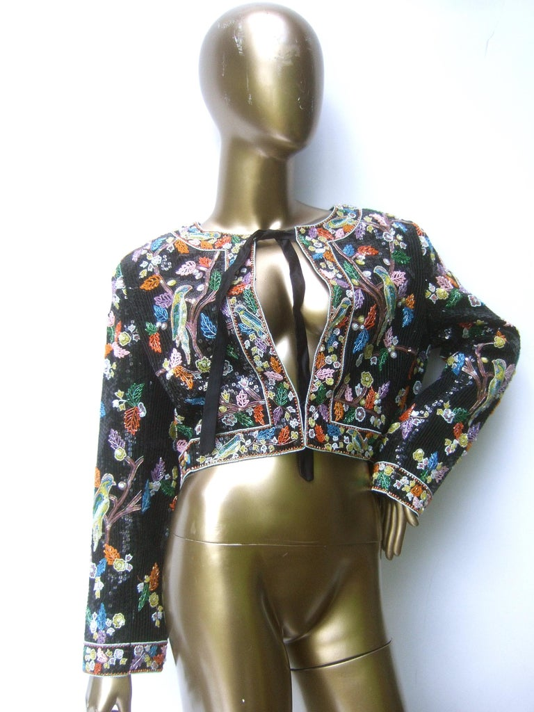 Artisan Glass Beaded Birds of Paradise Floral Sequined Bolero Jacket c 1980s  For Sale 14