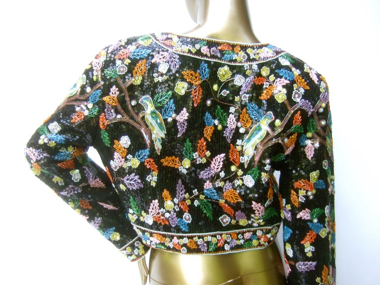 Artisan Glass Beaded Birds of Paradise Floral Sequined Bolero Jacket c 1980s  For Sale 15