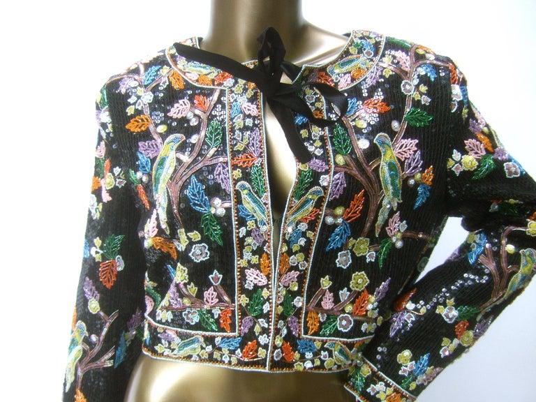 Black Artisan Glass Beaded Birds of Paradise Floral Sequined Bolero Jacket c 1980s  For Sale