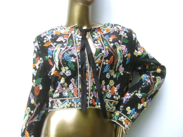 Artisan Glass Beaded Birds of Paradise Floral Sequined Bolero Jacket c 1980s  In Good Condition For Sale In Santa Barbara, CA