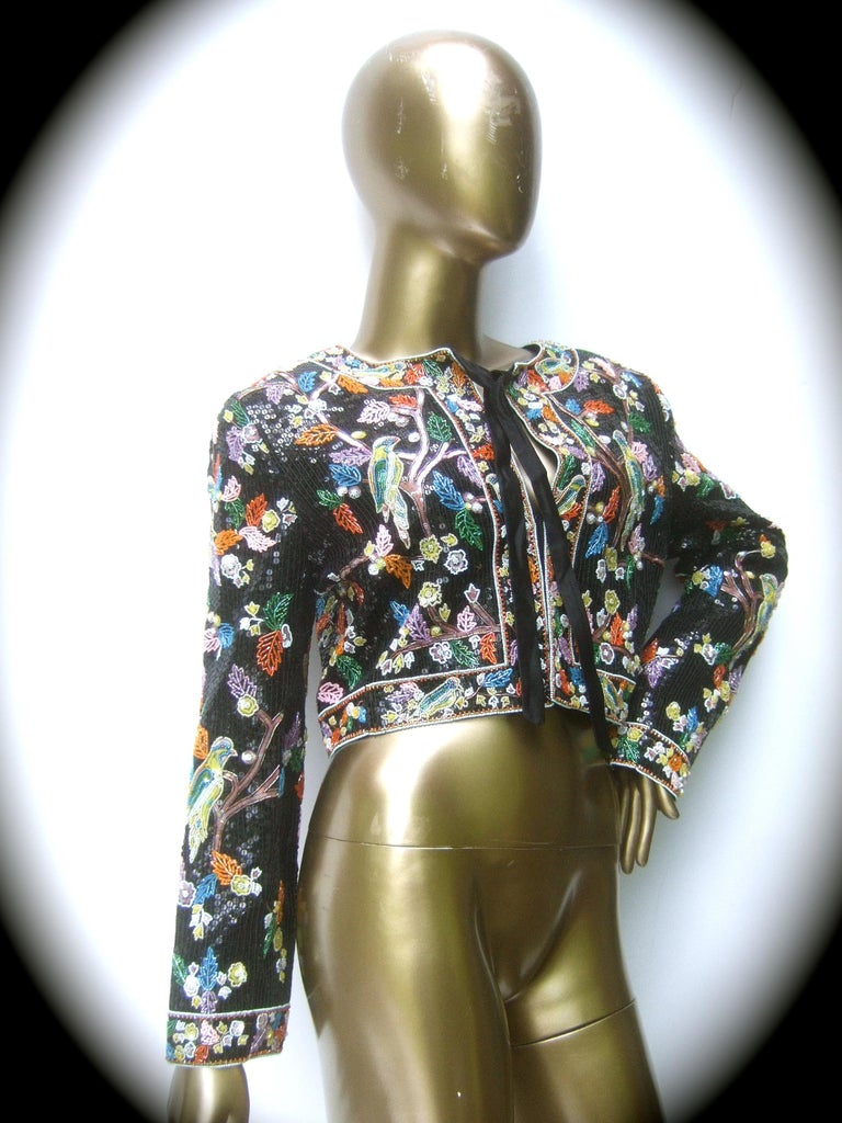 Women's Artisan Glass Beaded Birds of Paradise Floral Sequined Bolero Jacket c 1980s  For Sale