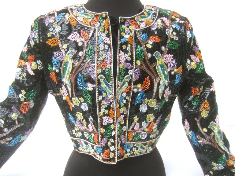 Artisan Glass Beaded Birds of Paradise Floral Sequined Bolero Jacket c 1980s  For Sale 1