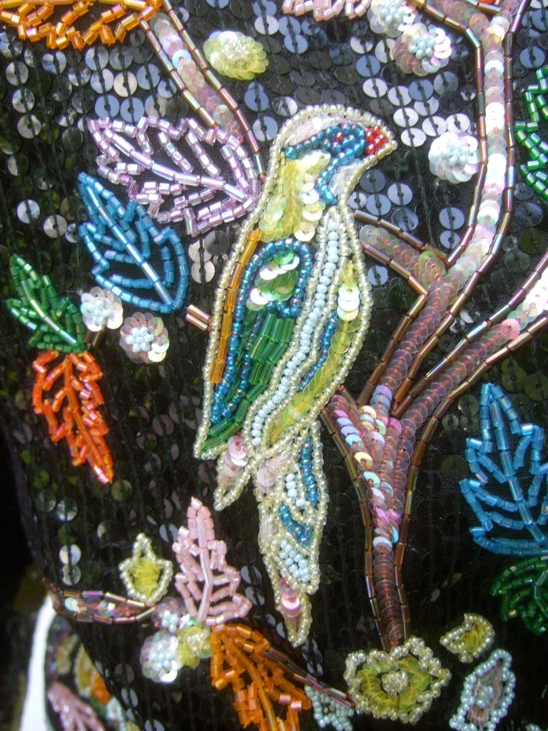 Artisan Glass Beaded Birds of Paradise Floral Sequined Bolero Jacket c 1980s  For Sale 2