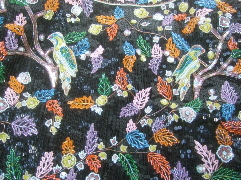 Artisan Glass Beaded Birds of Paradise Floral Sequined Bolero Jacket c 1980s  For Sale 4