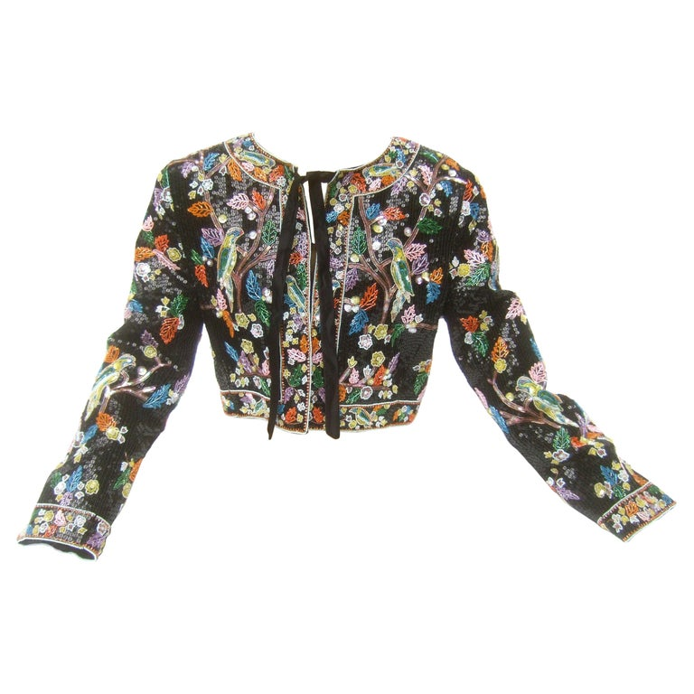 Artisan Glass Beaded Birds of Paradise Floral Sequined Bolero Jacket c 1980s  For Sale