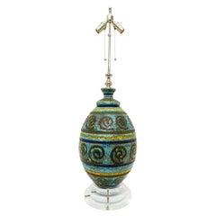 Artisan Glazed Midcentury Terracotta Table Lamp
