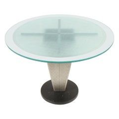 Artisan Granite Aluminum and Etched Glass Dining Table