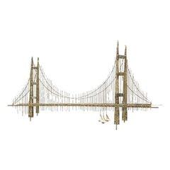 Artisan House Jere Abstract Gold Leaf Golden Gate Bridge Wall Sculptural