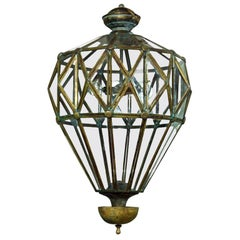 Artisan Italian Brass Diamond-Cut Lantern, Contemporary