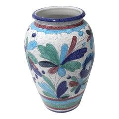 Artisan Italian Terracotta Majolica Painted Urn