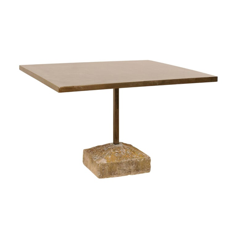 Artisan Made Custom Square Iron Top Table on Stone Plinth Base For Sale