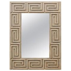 Artisan-Made Greek Key Carved and Painted Wood Rectangular Mirror