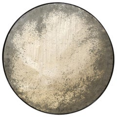 Artisan Made Round Mirror with Antiqued Glass Center, Customizable Sizes!