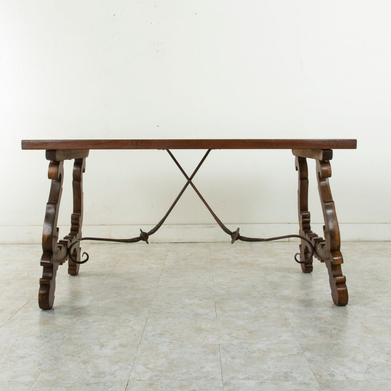French Artisan-Made Spanish Renaissance Writing Table with Single Plank Amaranth Top For Sale