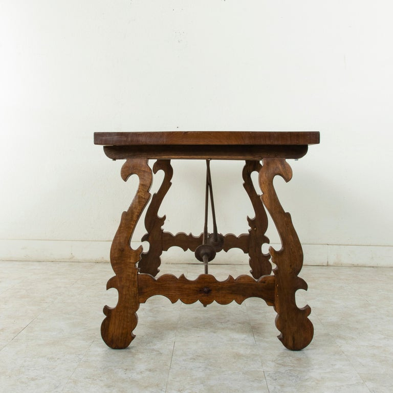 Artisan-Made Spanish Renaissance Writing Table with Single Plank Amaranth Top In Good Condition For Sale In Fayetteville, AR