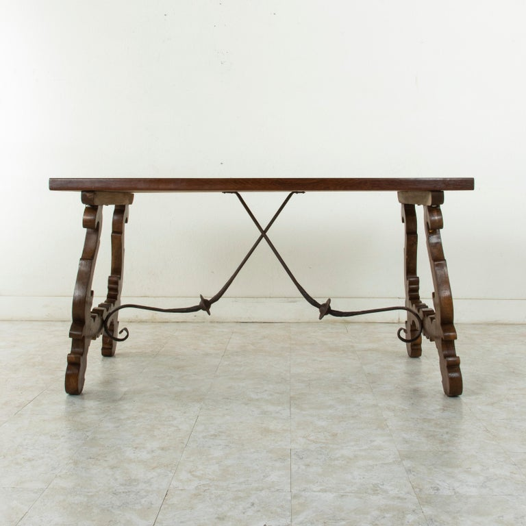 Early 20th Century Artisan-Made Spanish Renaissance Writing Table with Single Plank Amaranth Top For Sale
