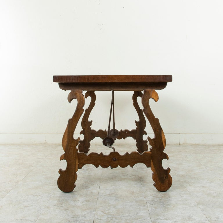 Iron Artisan-Made Spanish Renaissance Writing Table with Single Plank Amaranth Top For Sale
