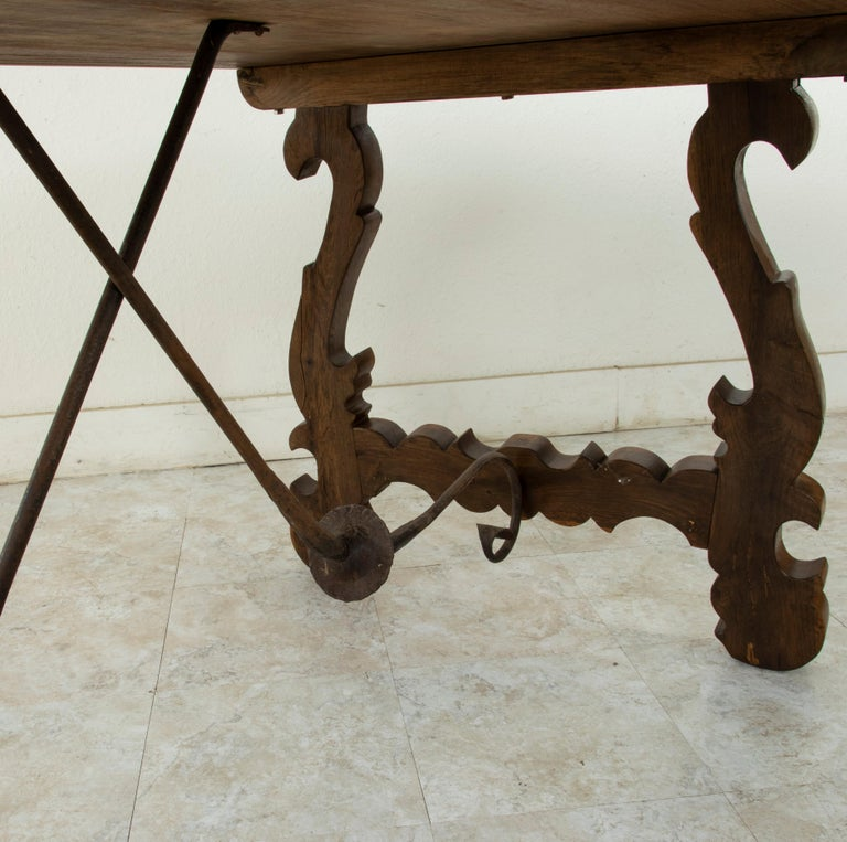 Artisan-Made Spanish Renaissance Writing Table with Single Plank Amaranth Top For Sale 2