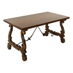 Artisan-Made Spanish Renaissance Writing Table with Single Plank Amaranth Top