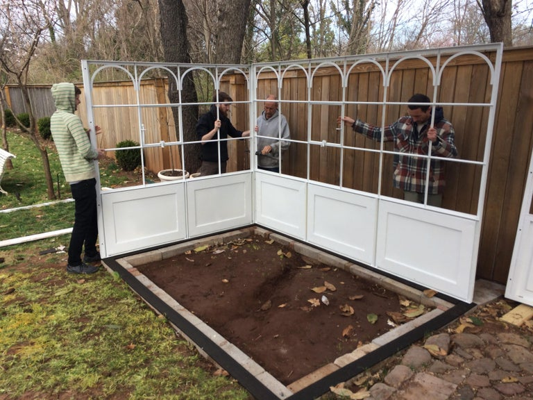 Artisan-Made Welded Steel Greenhouse with Glass Panes For Sale 5