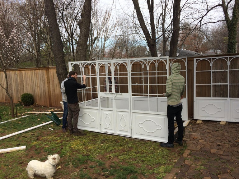 Artisan-Made Welded Steel Greenhouse with Glass Panes For Sale 7