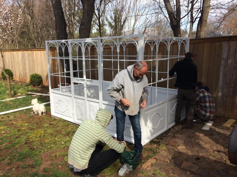Artisan-Made Welded Steel Greenhouse with Glass Panes For Sale 8