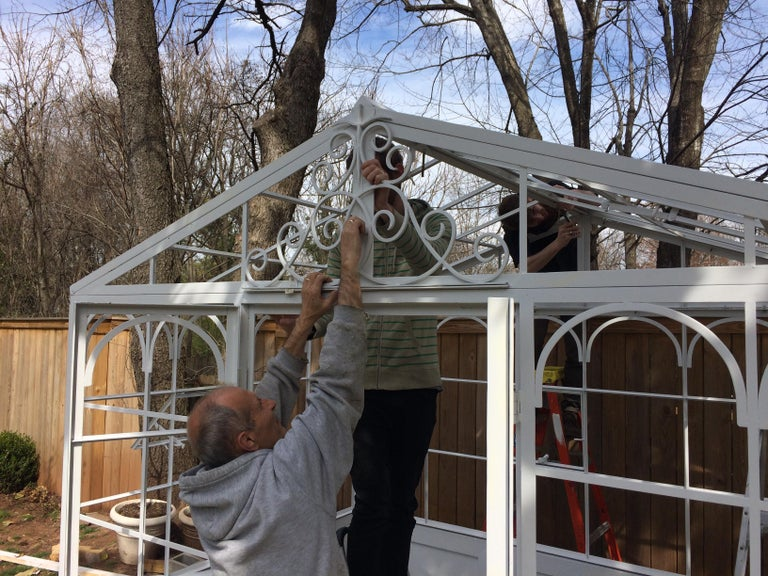 Artisan-Made Welded Steel Greenhouse with Glass Panes For Sale 11