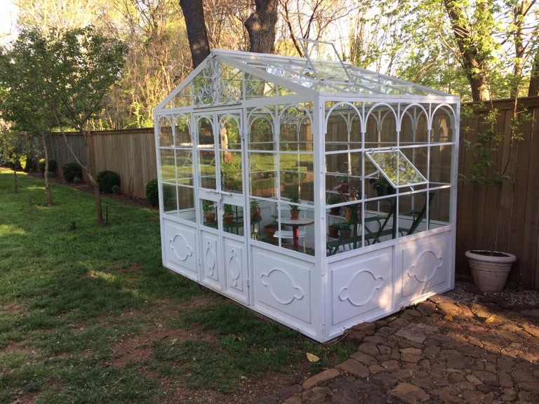 French Artisan-Made Welded Steel Greenhouse with Glass Panes For Sale