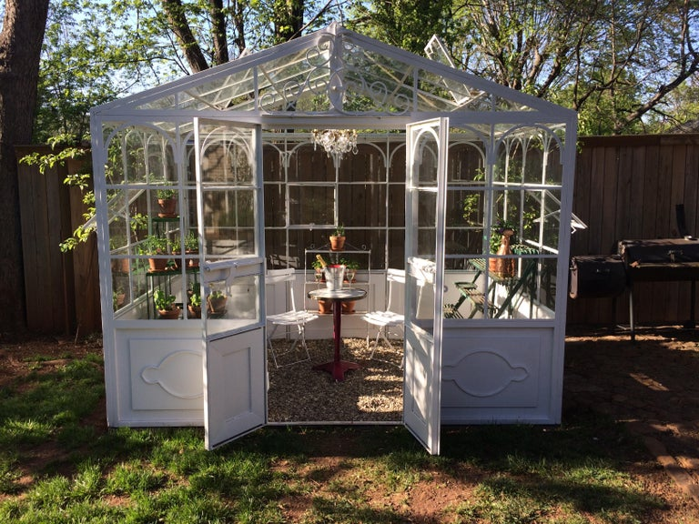 Painted Artisan-Made Welded Steel Greenhouse with Glass Panes For Sale