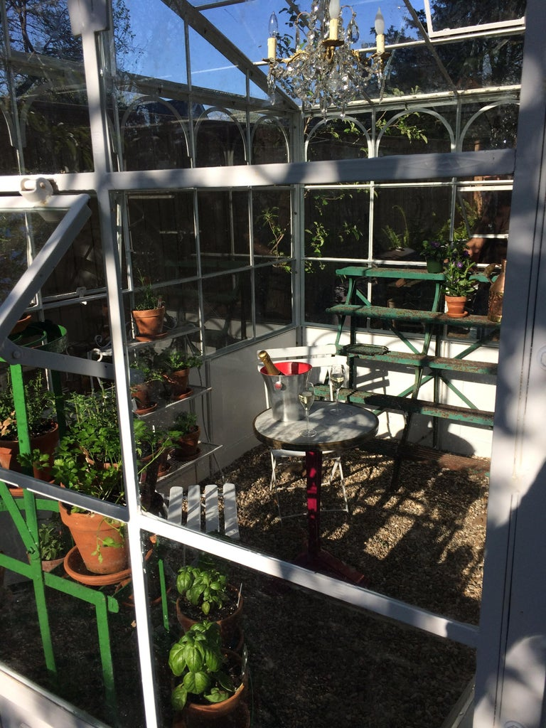 Contemporary Artisan-Made Welded Steel Greenhouse with Glass Panes For Sale