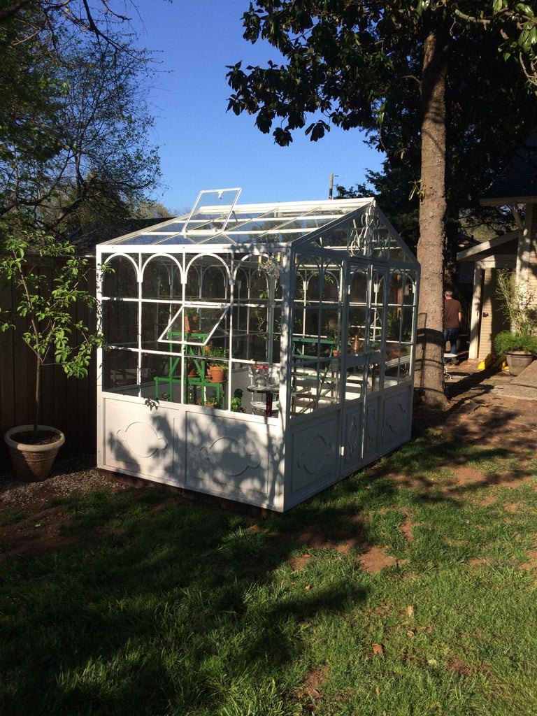 Artisan-Made Welded Steel Greenhouse with Glass Panes For Sale 1
