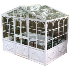 Artisan-Made Welded Steel Greenhouse with Glass Panes