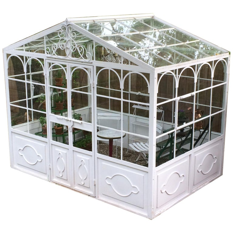 Artisan-Made Welded Steel Greenhouse with Glass Panes For Sale