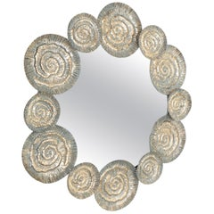 Artisan Metal Mirror, Midcentury, Italy