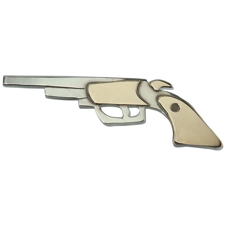 Artisan Modernist Sterling Silver Gun Brooch