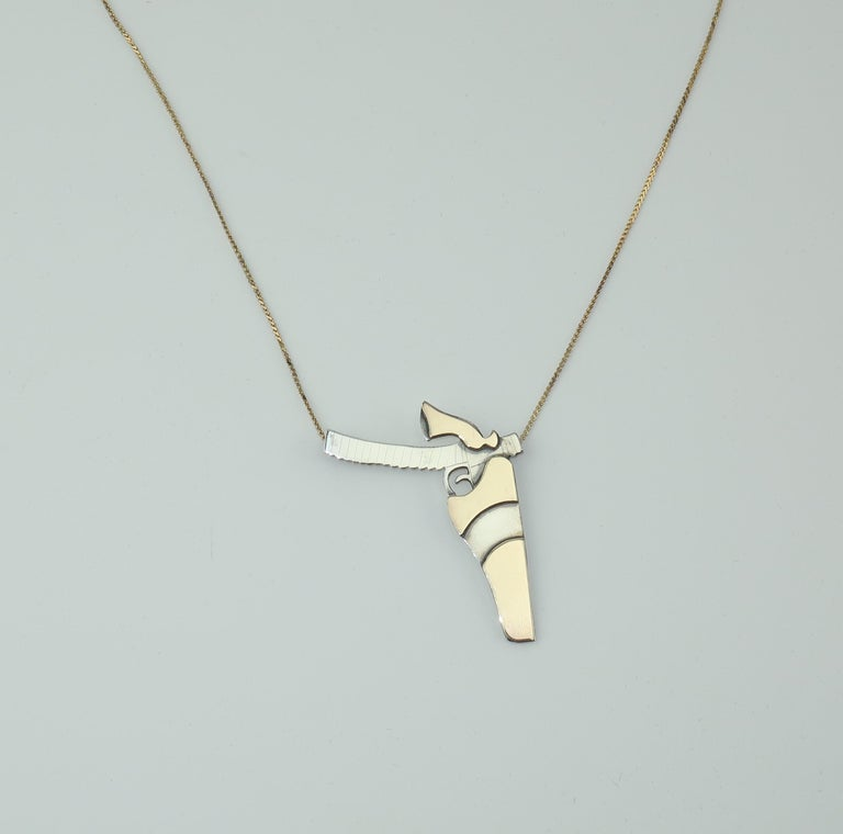 Women's Artisan Modernist Sterling Silver Gun Pendant Necklace For Sale
