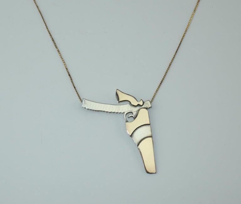 Artisan Modernist Sterling Silver Gun Pendant Necklace For Sale 1