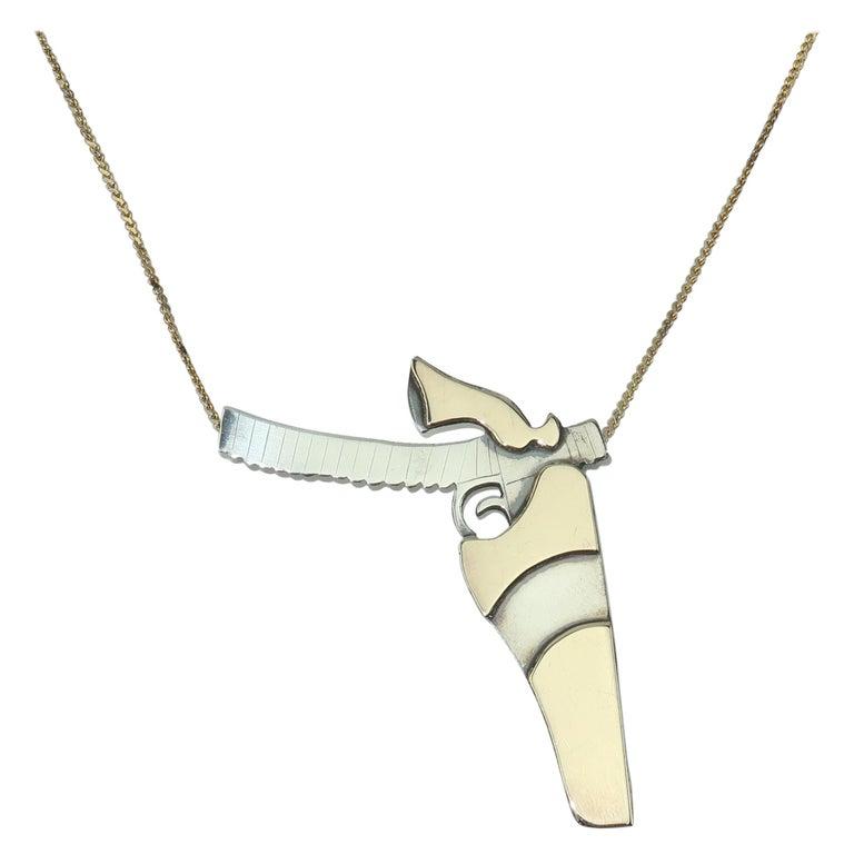 Artisan Modernist Sterling Silver Gun Pendant Necklace For Sale