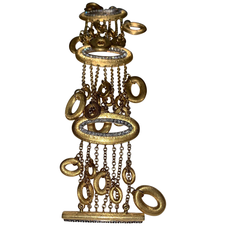 18 Karat Gold White Diamond Handmade Charm Bracelet