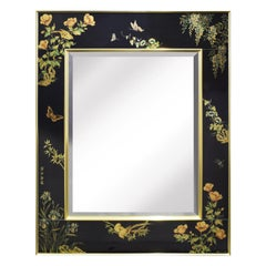 Artisan Reverse Painted Mirror with Butterfly Motif, 1983, 'Signed and Dated'