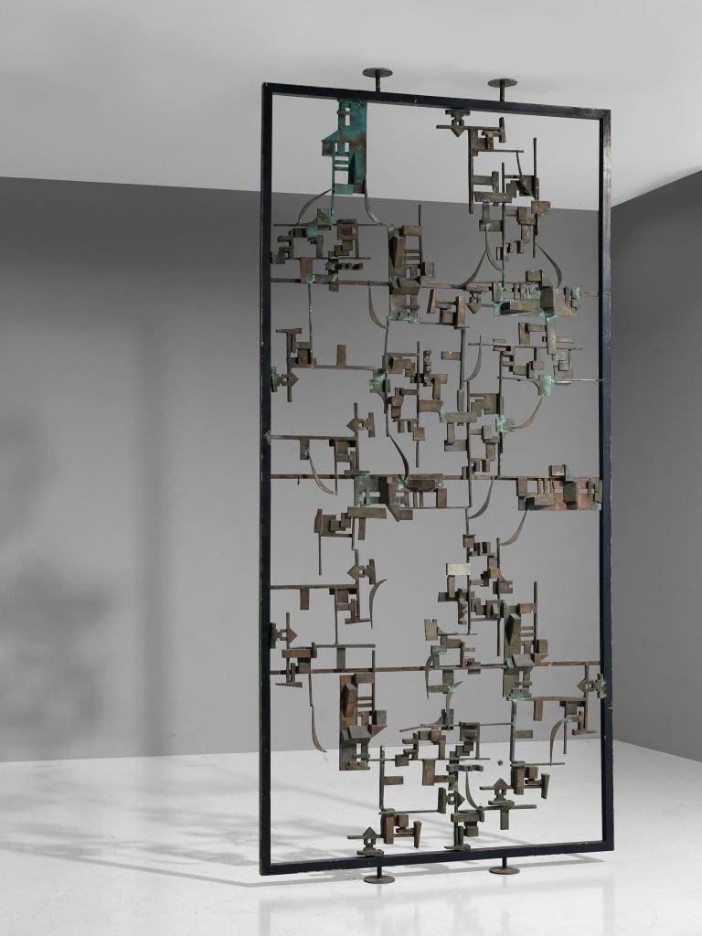 Mid-Century Modern Artisan Room Divider in Bronze, Italy, 1960s
