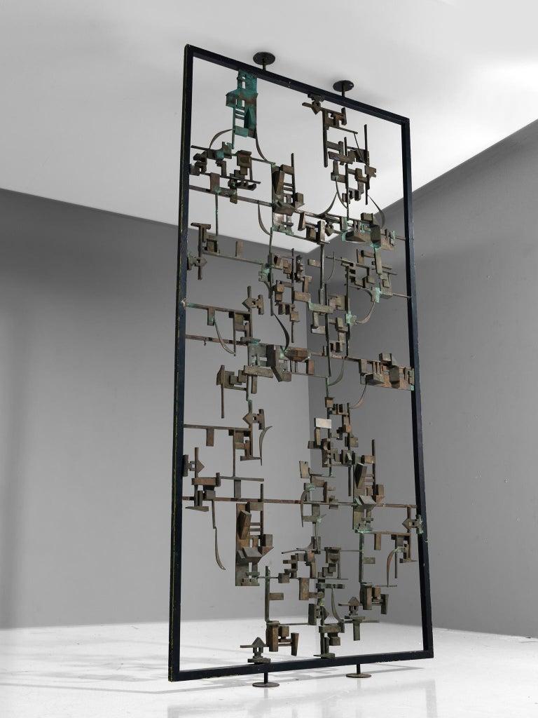 Italian Artisan Room Divider in Bronze, Italy, 1960s