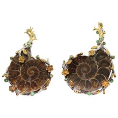 Artisan Sterling Gold Ammonite Fossil Earrings with Emeralds