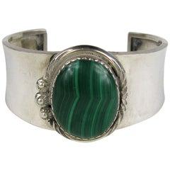 Artisan Sterling Silver Malachite Stone Bracelet