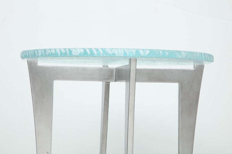 Artisan Translucent Glass Top with Curving Steel Base Side Table For Sale 3